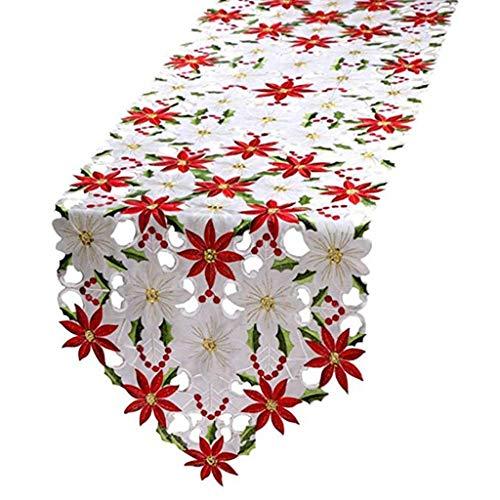 Sitonelectic Caminos de mesa bordados de Navidad, mantel decorativo de hojas de acebo de Pascua para decoraciones de Navidad de 15 x 69 pulgadas