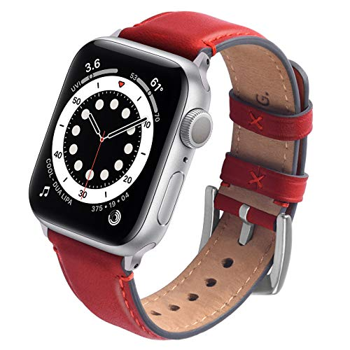 GerbGorb Lederarmband Kompatibel mit Apple Watch Armband 38mm/ 40mm/ 41mm, Vintage Leder Ersatzarmband für Damen Herren, Leder Armbänder mit iwatch SE Serie 7 Serie 6 Serie 5 Series 4/3/2/1