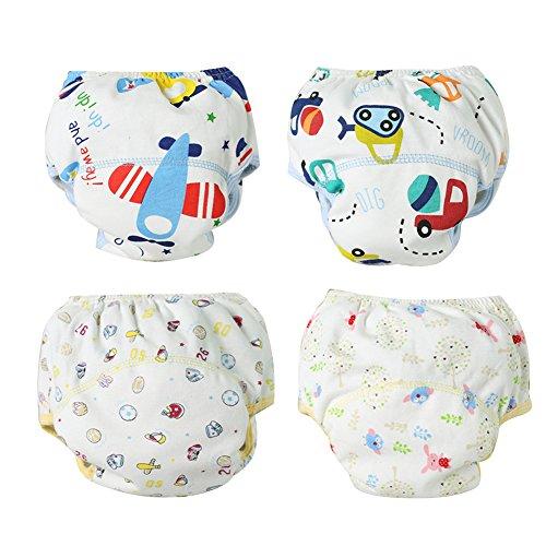 YFPICO Trainingshose Baby 6-30 Monate Baumwolle Wasserdicht Lernwindel Kleinkinder 4er Windeln Waschbar, A, 86/92