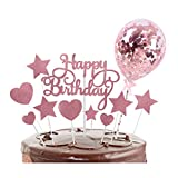 Gqavril12 Adorno de Torta Estrella Decoración para Tarta de cumpleaños de Oro Rosa Tarta...