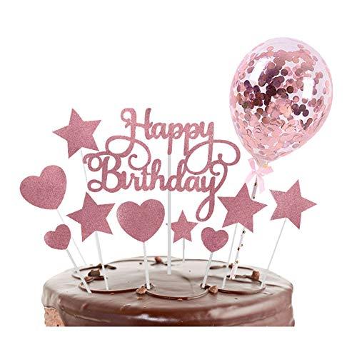 Gqavril12 Adorno de Torta Estrella Decoración para Tarta de cumpleaños de Oro Rosa Tarta de cumpleaños de Oro Rosa Tarta de Cumpleaños Dorado Topper Decoración para Tarta de Oro Rosa Rosado(2 Sets)