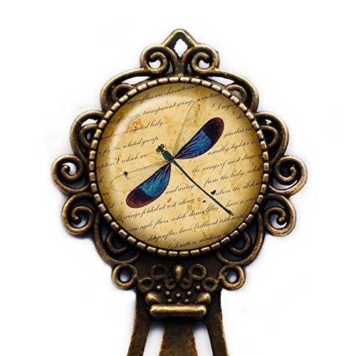Blue Dragonfly on Parchment Blaue Libelle auf Pergament Lesezeichen