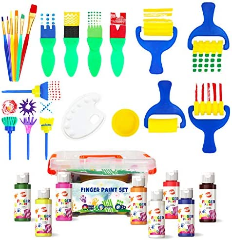 Early Learning Kids Paint Set Washable Finger Paint with Assorted Painting Brushes Sponges Portable product image