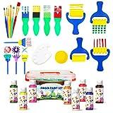 BLOT Peinture au Doigt Lavable Kit de Peinture au Doigt Enfants avec Étui Portable Éponge Pinceaux de Peinture pour Maternelle Dessin Artisanat Cadeaux