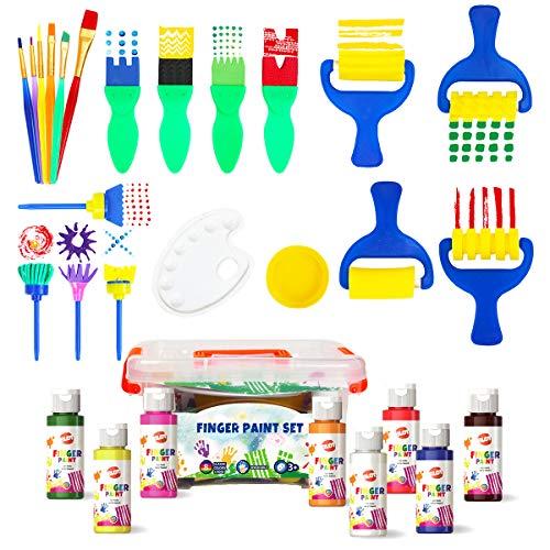 BLOT Fingerfarben Kinder Ungiftig Waschbares Fingermalfarben mit Pinsel Schwämme in Tragbarer Koffer für Kleinkinder Kindergarten Schule Frühes Lernen