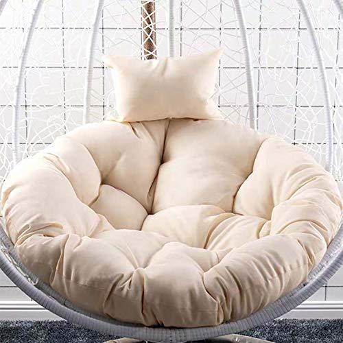 D&LE Hanging Egg Cushion,Swing Chair Cushion,Hanging Basket Hanging Egg Chair Cushion,Indoor and Courtyard Egg Hammock Seat Cushion-White Diameter:105cm