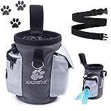 AMZNOVA Hunde Futterbeutel, Tragbare Futtertasche für Hunde zum Gehen, mit Gürtelclip und Abnehmbarem Bund, Hände Frei zum Tragen von Spielzeug, Kibble und Leckereien, Grau