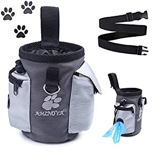 AMZNOVA Dog Treat Bag, Puppy Training Pouch, Animal Walking Snack Container Best Hiking Toys Pack Dispenser Carries with Waistband,Grey