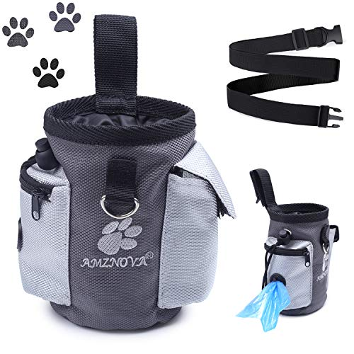 AMZNOVA Dog Treat Bag, Puppy Training Pouch, Animal Walking Snack Container Best Hiking Toys Pack...