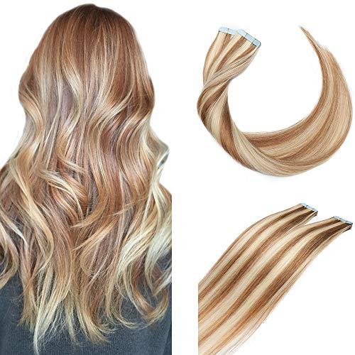 SEGO Extensions Adhesives Cheveux Naturels Bande Adhésif - 35 CM 12P613#Brun Doré Mèche Blond Blanchi [2g X 10 Bandes] - Tie and Dye Ombre