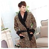 OMFGOD Herren Winter Bademantel dick lang Flanell Leopard Print Schlafanzug Mode Bequem Freizeit Nacht Kleid, Bild, XXL