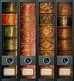 File Art - Adesivi per 4 raccoglitori A4 a bordo spesso, motivo: Folio II