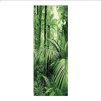 3D Decorative Film Privacy Window Film No Glue,Rainforest Decorations,Palm Trees and Exotic Plants in Tropical Jungle Wild Nature Zen Theme Illustration,Green,for Home&Office