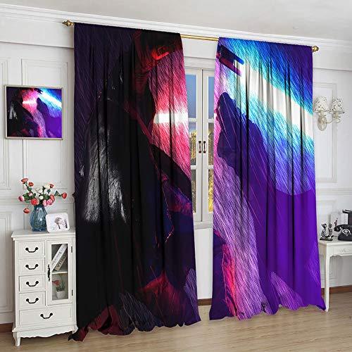 Cortinas transparentes Star Wars The Last Jedi para dormitorio de niñas sala de estar cortinas para ventana (84 x 84 cm)