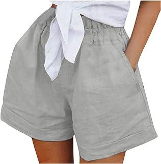 Sunhusing Women Solid Color Elastic Waist Casual Pockets Comfort Cotton Linen Shorts Loose Wide Leg Short Pants