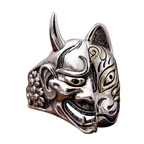 ForFox Anillo de Mascara Hannya Demonio japones joyería de Plata de Ley 925 gótico para Hombres Mujeres Talla 20