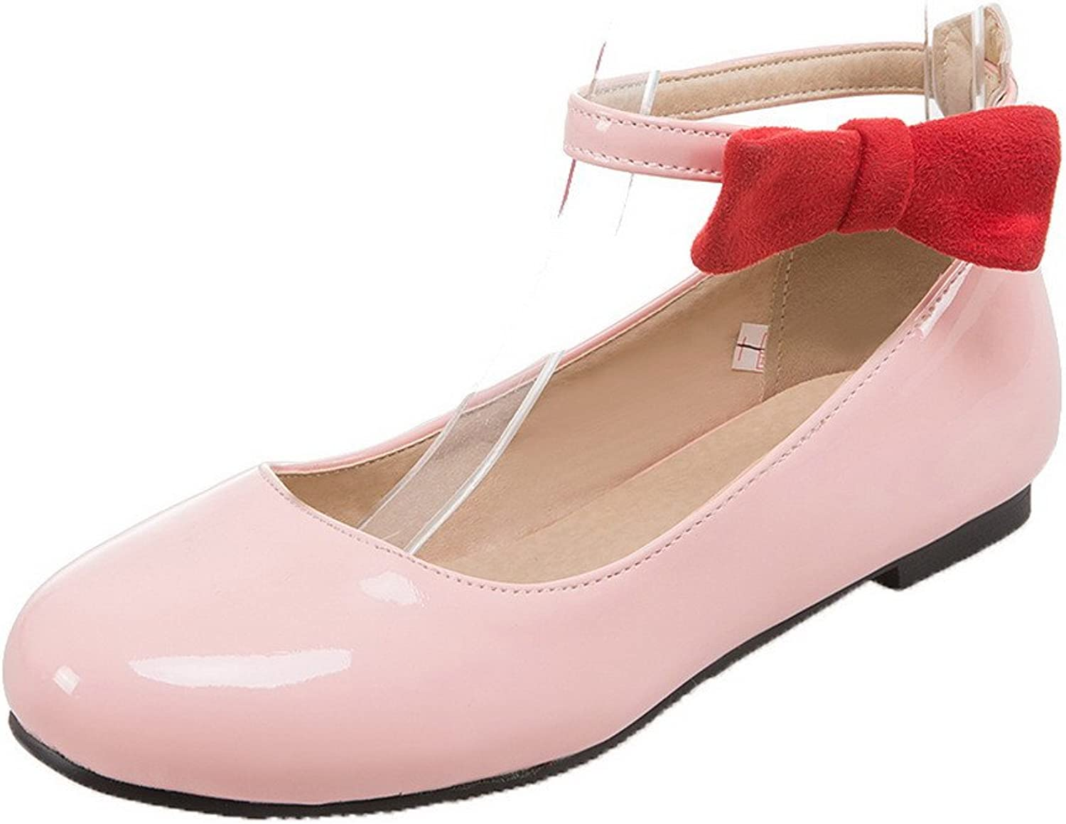 WeenFashion Women's Round Toe No-Heel Patent Leather Solid Buckle Pumps-shoes