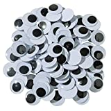 Creativity Street-AC3475-02DI 409849 Round Wiggle Eyes, 20 mm, Black on White, Pack of 100
