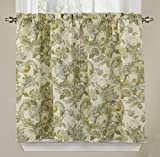 Waverly Tie Spring Bling-Rod Pocket Curtains for-Kitchen and Bathroom, Double Panel, 52' x 36', Platinum