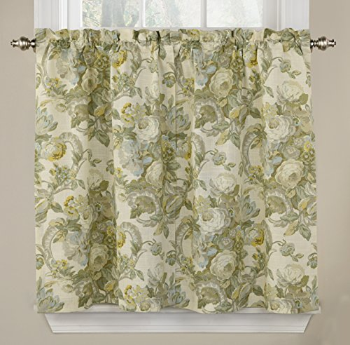 """Waverly Tie Spring Bling-Rod Pocket Curtains for-Kitchen and Bathroom, Double Panel, 52"""" x 36"""", Platinum"""