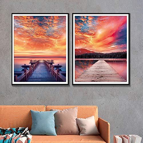 Rahmenloses Gemälde Naturlicht Sonnenplakate und Drucke Hausdekoration des Wandkünstlers Brücke WohnzimmerdekorationZGQ3581 60X80cmx2