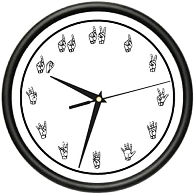 amazon retired who cares wall clock retiree retirement gift Four O'Clocks sign language wall clock speech silent silence body language manual gift decor home and room