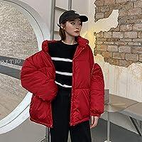ダウンジャケット Xllrbd女性の緩いスタンドアップカラーパッドドッキングジャケット (Color : Red, Size : M)