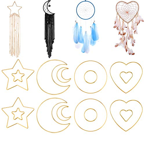 Gukasxi Metal Dream Catcher Rings, 16 Pieces 2 Size (5/15 cm) Metal Macrame Rings Moon Star Heart Circle Crafts Rings Hoops for DIY Wedding Wreath Decor, Dreamcatcher Making, Home Wall Decoration