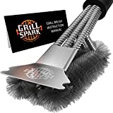 Grill Spark Quick/Easy BBQ Grill Brush and Scraper 18' | Safe Stainless Steel...