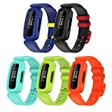Lyforaz Bands Compatible with Fitbit Ace 3 for Kids, Soft Silicone Waterproof Bracelet Accessories Sports Watch Strap Wristbands Replacement for Fitbit Ace 3 Girls Boys (Blue/Yellow Fastener Ring,Black/Racer Red,Lake blue,Lime,OrangeRed)