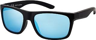 La Optica B.L.M. - La Optica Gafas de Sol LO8 UV400 Deportivas da Hombre y Mujer, Mate Negro (Lentes: azul claro espejada)