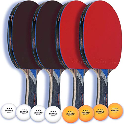 M-MAX Ping Pong Paddle Set - Complete 4 Player Table Tennis Bundle - Carbon Fiber 7 Ply Blades, 2 mm Sponge - Premium Rubber for Extra Spin - Attractive Portable Case - 8 Resilient 3-Star Balls