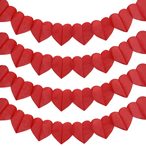 TUPARKA 3m Valentine's Day Hanging Banner Red Love Heart Bunting Garland for Wedding Party,Valentine's Decoration