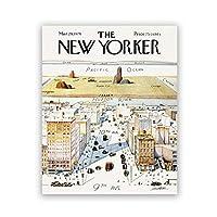 Llxhg1960ニューヨーカー誌の表紙ポスター9番街からの世界の地図ビンテージプリントウォールアート絵キャンバス絵画装飾-50X70Cm非フレーム