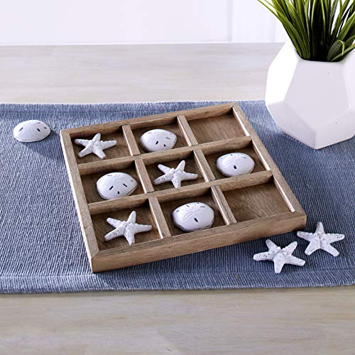 Dennis East Nautical Tic Tac Toe Board Game with Faux Seashells, Starfish - Beach Decor