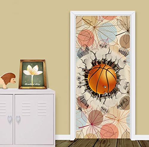 Mural Para Puerta Fondo De Hoja De Baloncesto Creativo 3D Dibujos Animados Niños Sala De Estar Dormitorio Desmontable Autoadhesivo Papel Pintado Puertas 77 X 200 cm