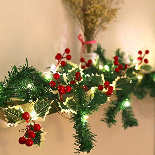 Christmas Battery Operated String Light Red Berry Garland with Green Maple Leaf and Pine Needles 6.56Ft 20 LED Lights Xmas Decor Garland Lights Indoor Outdoor Christmas Holiday New Year Decorations