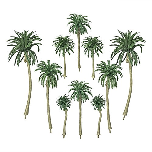 20 PCS Artificial Coconut Palm Trees Cake Cupcake Toppers Model for Diorama Scenery Party Decorations 5 Sizes