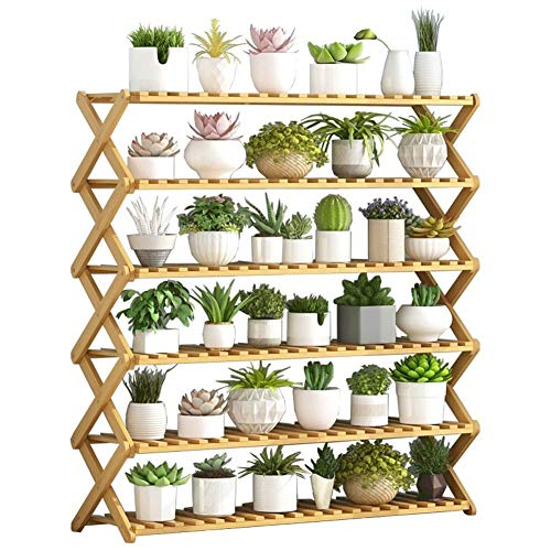 QQB Fashion 6 Tier Pliant Usine Jardinière en Bois présentoir Bonsai étagère Support de Rangement for la décoration d'intérieur et d'extérieur (Size : 100cm*31cm*91cm)