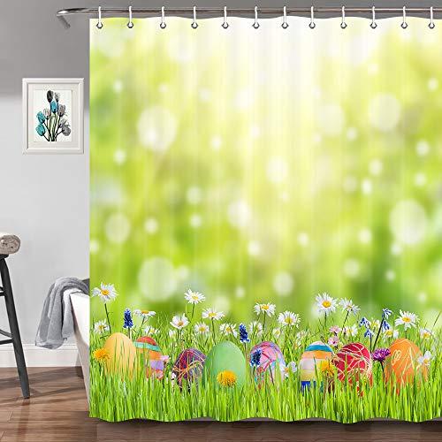 JAWO Ostereier Duschvorhang für Badezimmer, Frühling, Festival, Kaninchen & Ostereier im Gras, Badezimmer-Dekoration, Stoff Duschvorhang-Haken, 177,8 cm