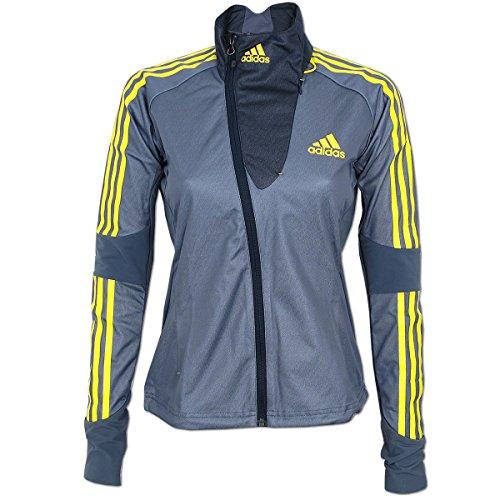 adidas Damen Athleten Jacke Cross Country Jacket Outdoor Skisport Wintersport (grau-gelb, 32)