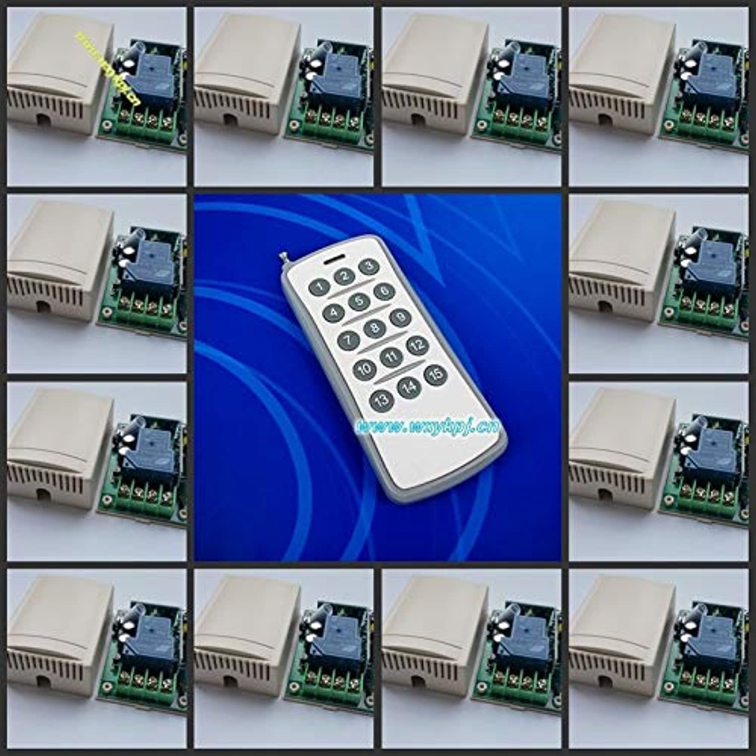 Factory Price AC220V 30A 1CH RF 3000W Wireless Remote Control System 12Receivers&1Transmitter Learning Code 315MHZ 433MHZ