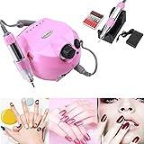 Torno para Uñas Profesional Pulidor Eléctrico de Uñas Manicura Pedicura Pulidor de Uñas (Rosa)
