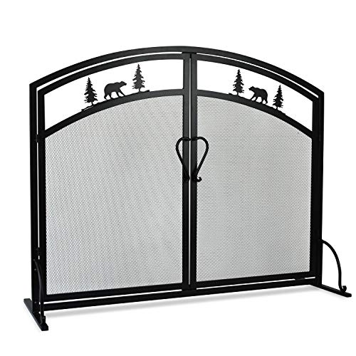MyFirePlaceDirect Single Panel Wrought Iron Fireplace Screen, Black Iron Mesh Fireplace Screen with Hinged Magnetic Doors, Decorative Fireplace Screen Spark Guard for Fireplace Accessories