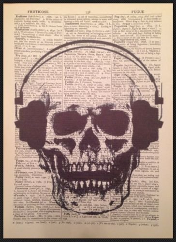 Parksmoonprints Skull Skeleton Vintage Dictionary Print Gothic Wall Art Steampunk Picture Hipster Top Hat Humanised Quirky Gift Rose Love Ear phones steampunk buy now online