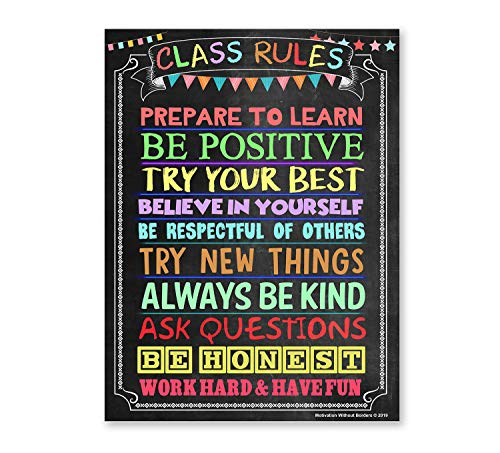 Classroom Rules Poster (LAMINATED 18X24) Motivational Poster ideal for High School Classroom, Middle School Classroom or Elementary Classroom Decorations