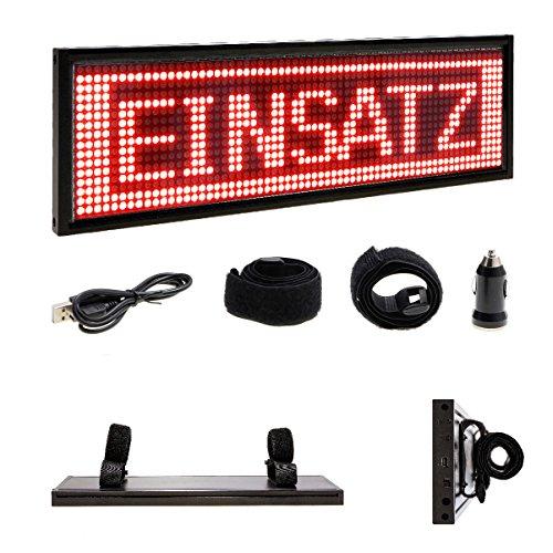 LED-MARTIN® Warndisplay V2.0 für die Sonnenblende - frei programmierbar - THW - Feuerwehr - DRK - HVO - ASB - inkl. Lithium-Ionen-Akku und Ladegerät