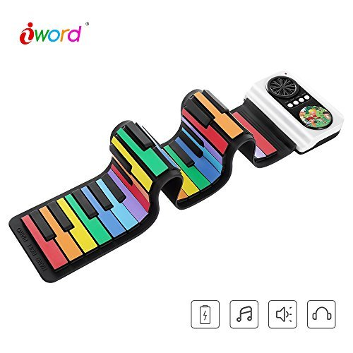 37 Roll Up Piano for Kids IWORD Standard Soft Keys Piano Portable Travel Piano Foldable Electric Digital Keyboard Piano Flexible Keyboard Piano USB Mini Keyboard Built-in Speaker Great Gift for Kids