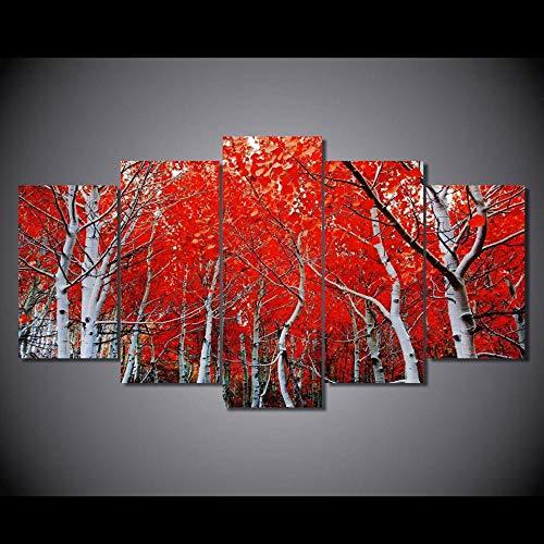 Rkmaster-decoratieve plakfolie voor de woonkamer, Hd print, 5 stuks, rood Autumn Maple Leaf Moderne muurkunst afbeelding thuis schilderij