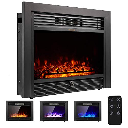 "YODOLLA 28.5"" Electric Fireplace Insert with 3 Color Flames, Fireplace Heater with Remote Control and Timer, 750w-1500W,Classic Style"